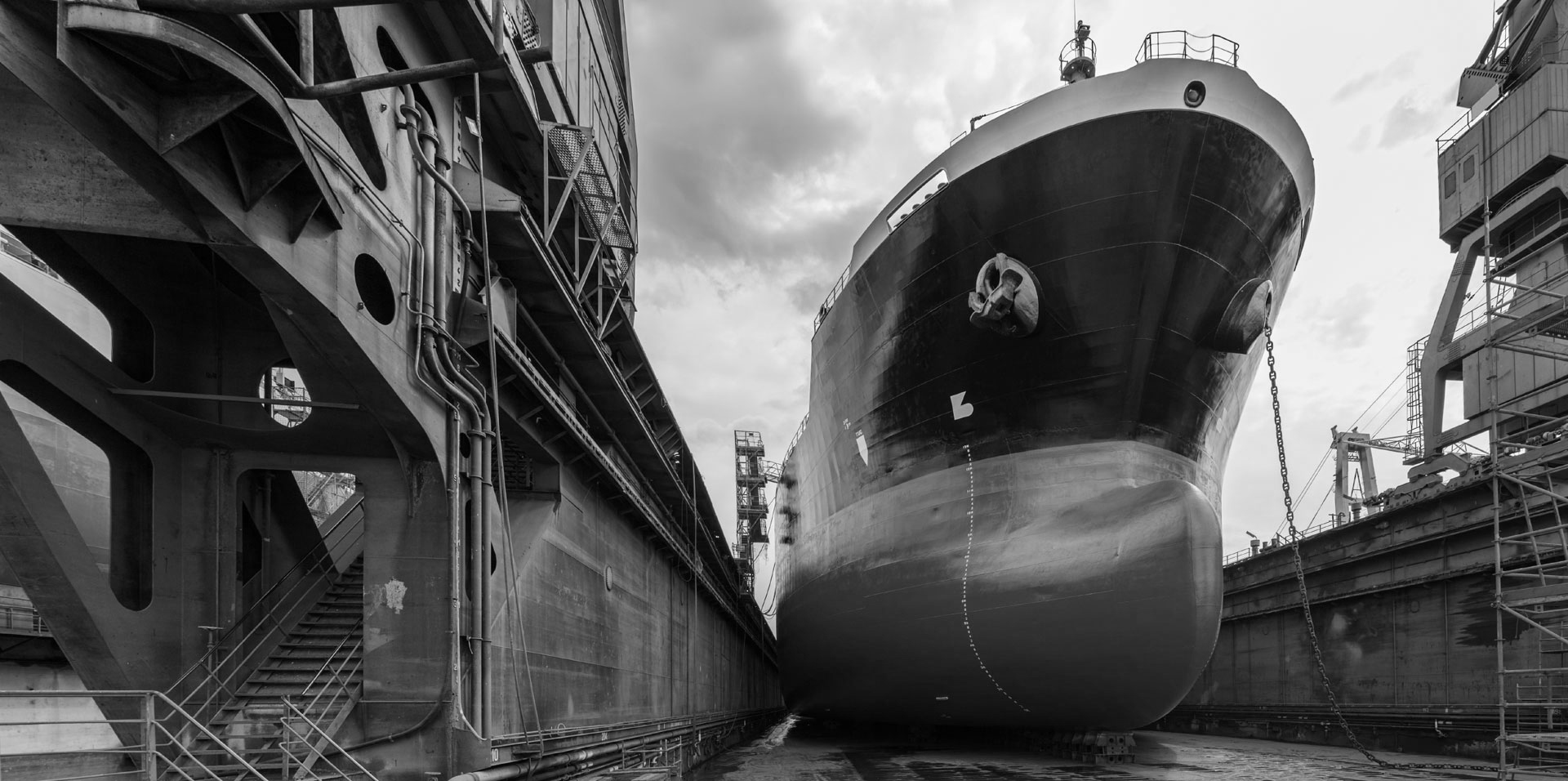 Tanker in dry dock